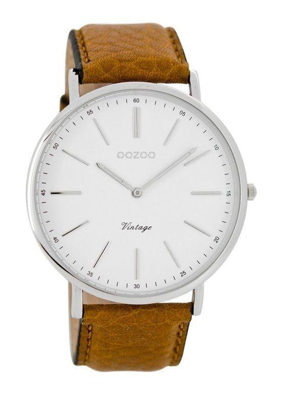OOZOO Vintage horloge Bruin/Wit C7306 - Horloge - 44 mm - Leer - Bruin