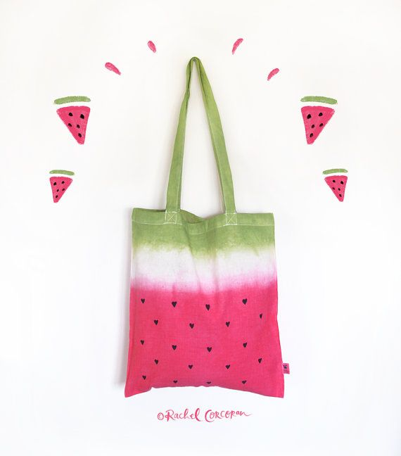 Pink WATERMELON TOTE BAG Cotton Tote Canvas by Rachillustrates