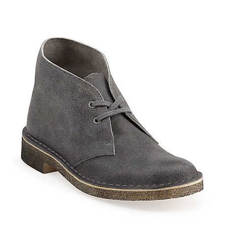 Desert Boot-Women in Grey Distressed Suede - Womens Boots from Clarks.  Need these for an everyday look but in a distressed brown.