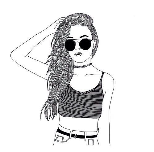 drawing, girl, outline, tumblr - image #3982462 by Tschissl on ...