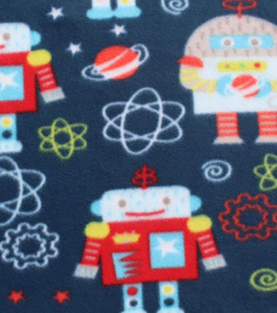 Blizzard fleece fabric space robot robots fleece fabric for Space flannel fabric