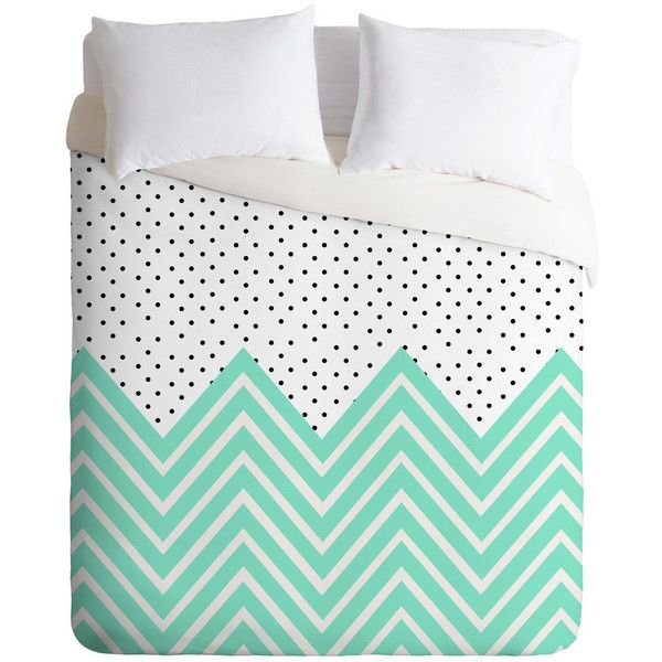minty chevron and dots Duvet Cover (3.510 CZK) found on Polyvore