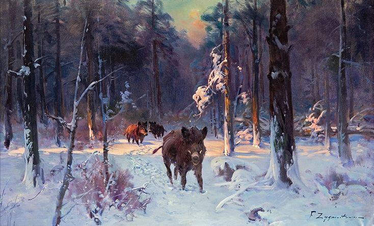 """Malarstwo polskie Czesław Wasilewski """"Dziki w zimowym lesie"""", olej na płótnie, 68,5 x 115,5 cm, własność prywatna"""