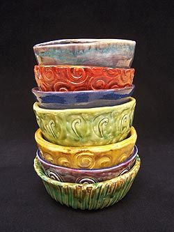 Textured Pinch Pot Bowls - good Art I intro to clay.  Paint instead of glaze.