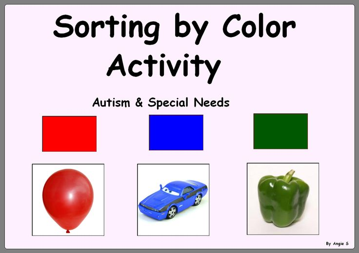 Sorting by Color -Autism & Special Needs Activity- for more resources follow http://www.pinterest.com/angelajuvic/angie-s-tpt-store/