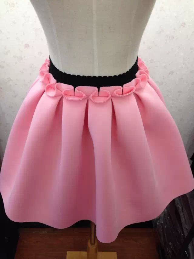 2015 New Autumn And Winter Neoprene new space cotton elastic force high waist skirts pleated skirt women skirt saia black casual