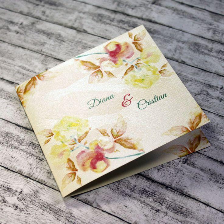 Invitație de nuntă Wattercolor http://designbyclarice.ro/