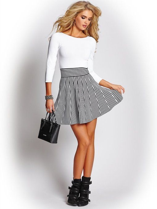 Guess black and white sweater skater dress. <3