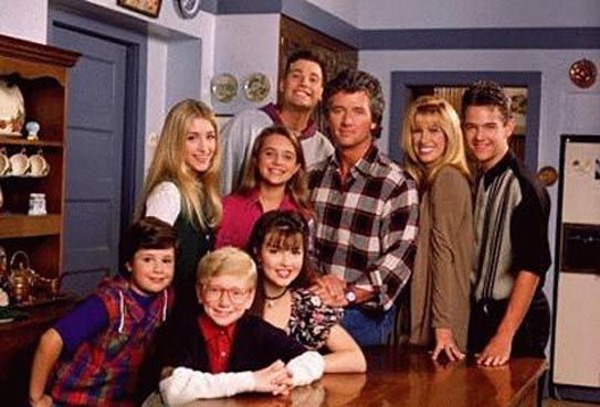 Step by Step is an American tv sitcom with  Patrick Duffy and Suzanne Somers as two single parents (each with three children), who spontaneously get married after meeting one another during a vacation, resulting in them becoming the heads of a large blended family. Also..Staci Keanan  Brandon Call  Patrika Darbo  Angela Watson  Christine Lakin  Christopher Castile  Josh Byrne  Peggy Rea  Sasha Mitchell  Jason Marsden  Bronson Pinchot  Emily Mae Young