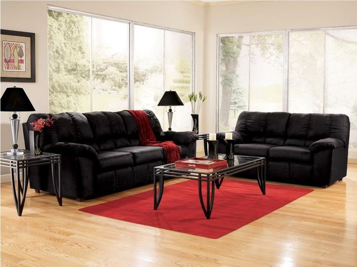 Cheap Living Room Furniture Sets Modern Black Sofa Interior Decor
