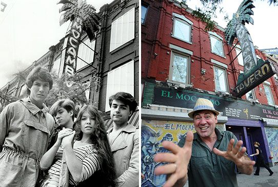 Canadian band Spoons poses in front of the El Mo's iconic sign in 1982, left. El Mocambo co-owner Sam Grosso, right, poses with the same sign in 2012.