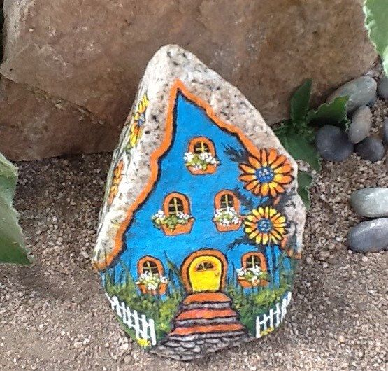 CASA de jardín de hadas lindo colorido rock casa por MyGardenRocks