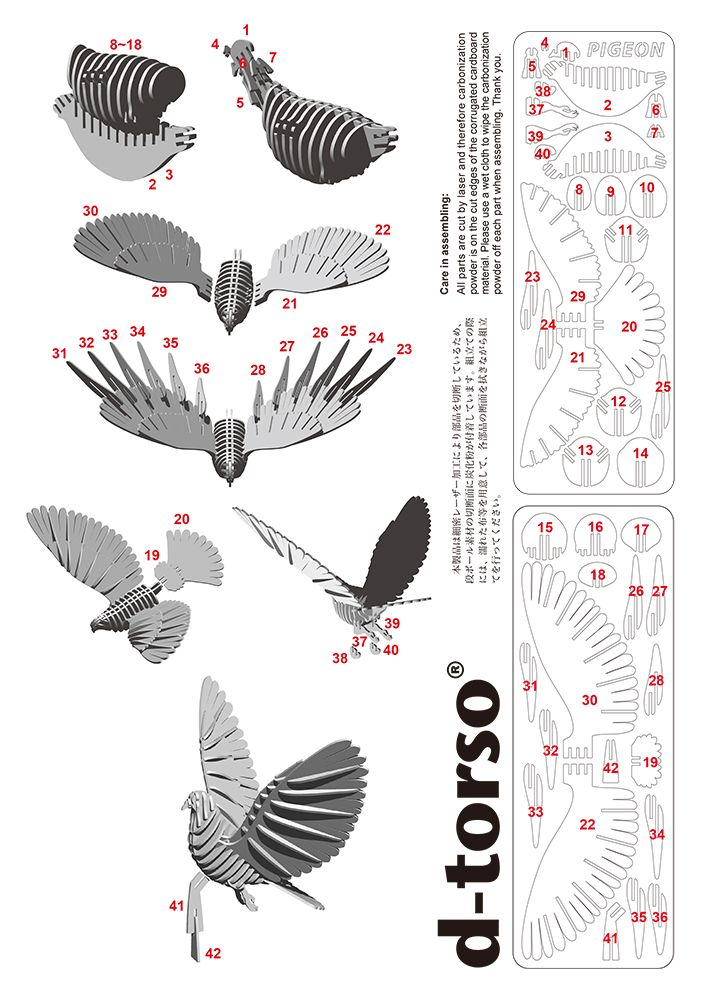 Pigeon110_ngold d-torso paper craft by Aki Co.,Ltd.