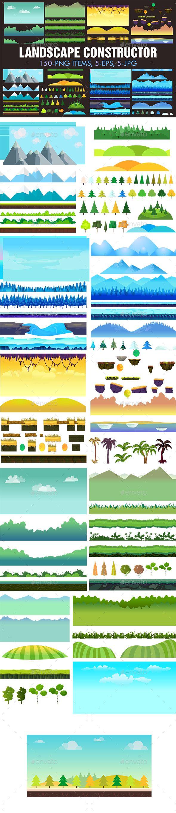 Landscape Constructor Set I - Backgrounds Game Assets