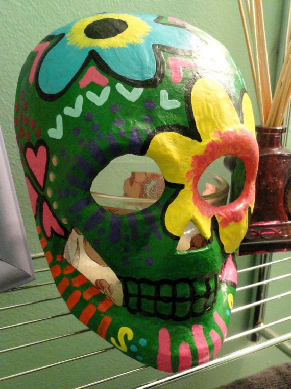 Sugar Skull Paper Mache Mask Wall Art