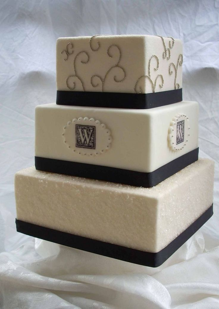 square black and white wedding cakes pictures%0A Black White Andd Gold bottom tier is sparkling sugar over fondant  monogram  is stamped on with rubber stamp and scrolls are tiny little