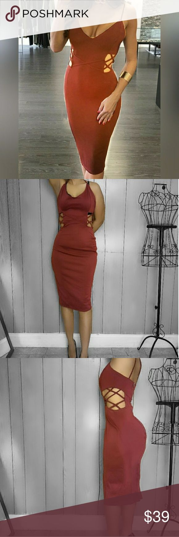 "Date Me"" Criss-Cross Hollow Out Back Slit Red Midi NEW!  This body-conscious zipper back midi dress is the perfect go to dress for Date Night or even girls night out. Hugs and flatters your curves in all the right places with stretchy material.  Spaghetti straps and exposed zipper on the back.  Sexy cutouts with crisscross details adds that extra flare and uniqueness to this already amazing fitted dress.  Modeling with clips ! Large fits big on me! Dresses Midi"