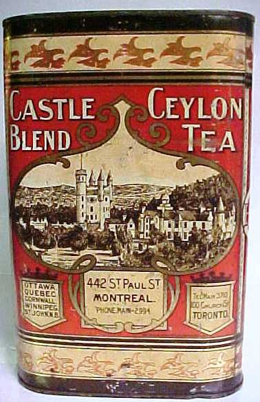 """CASTLE BLEND CEYLON TEA TIN. Circa 1900. Tin made by the Tos. Davidson Mfg. Co. Limited Montreal. Harder to find version of this tin. Measures 10"""" in height X 6 3/4"""" X 6 3/4""""."""