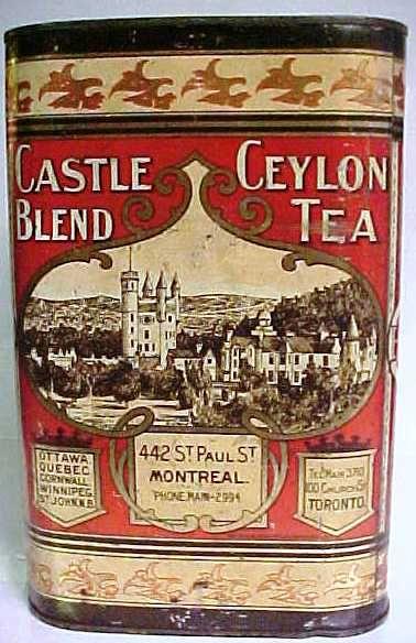 CASTLE BLEND CEYLON TEA TIN. Circa 1900.