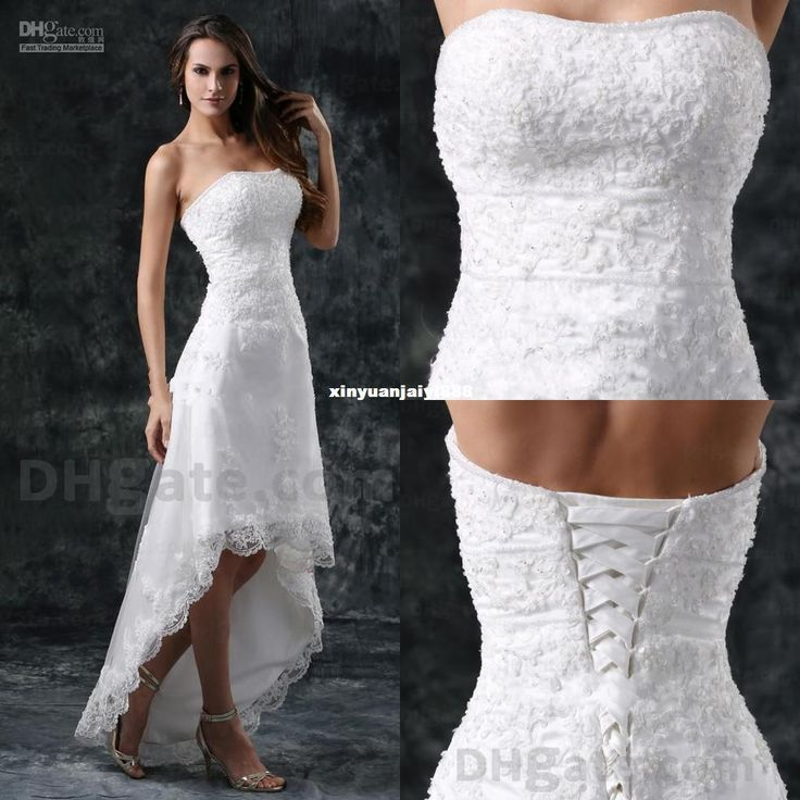 Wholesale Wholesale - Buy - 2014 Wedding Dresses Lace A Line Hi Low Strapless Applique Elegant Grace W284, $97.11 | DHgate