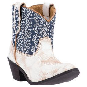 Laredo Women's Shortie White & Blue Cowgirl Boots