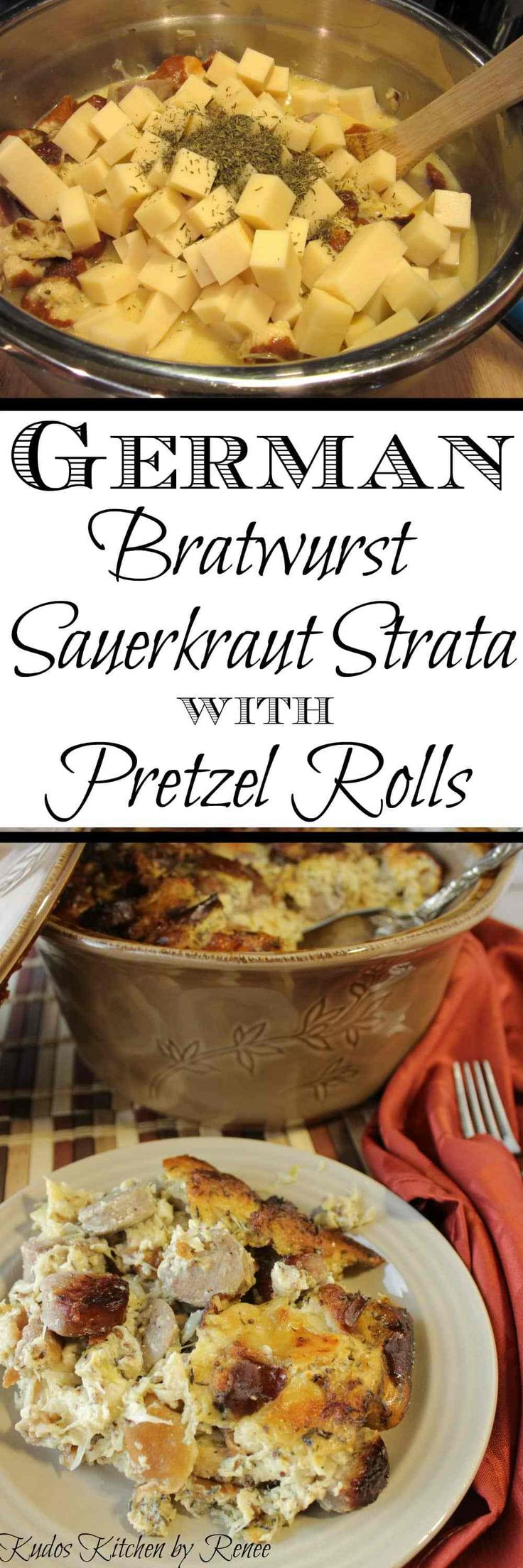 Hearty, meaty chunks of German bratwurst are simmered in beer and caraway before being combined with pieces of soft, flavorful pretzel rolls. Next, they're mixed with tangy sauerkraut, stone ground mustard, and lots and lots of Swiss cheese before being smothered in an egg, milk and mustard mixture and then baked to a delicious golden brown. - Kudos Kitchen by Renee - www.kudoskitchenbyrenee.com