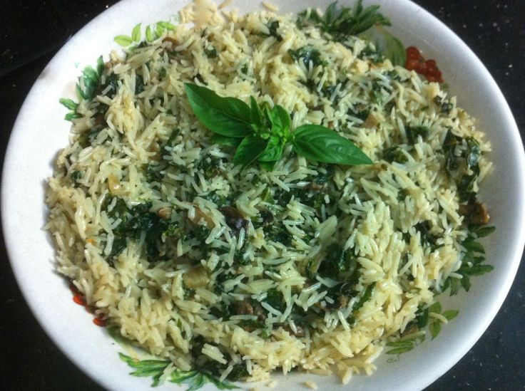 Basmati Rice with kale, mushroom, onion, basil and cream!
