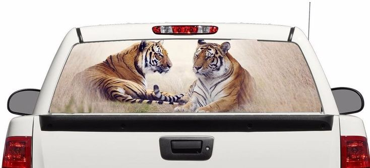 Tiger art rear window graphics Decal Sticker 50/50view 66''x22'' Truck #Perforated