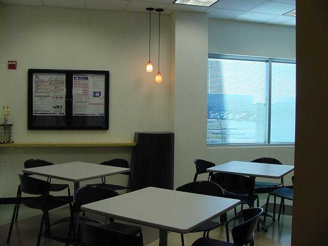 Room for 3 tables commercial office break room designs for Office lunch room design ideas