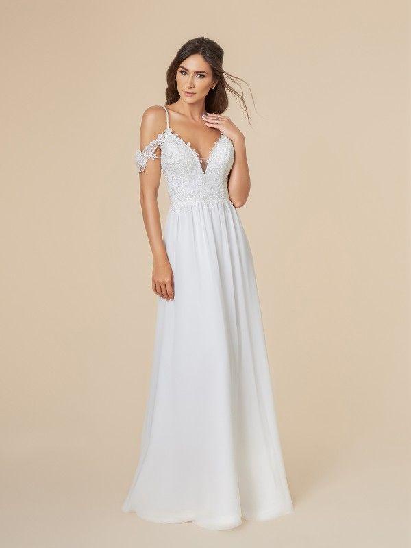 Chiffon Wedding Dress With Straps Moonlight Tango T842 A Line Wedding Dress Cold Shoulder Wedding Dress A Line Bridal Gowns