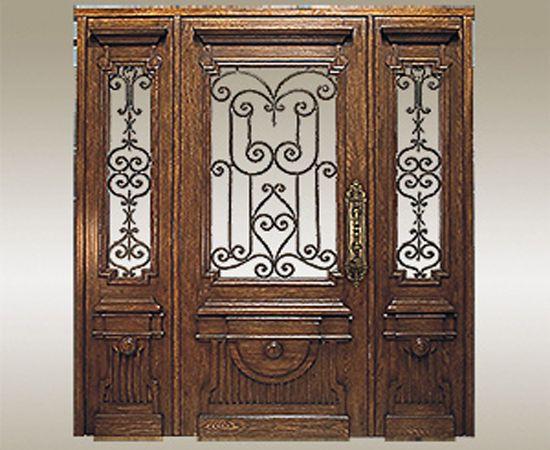 Exterior Doors With Glass | Wood Glass Entry Doors With Decorative Metal |  Door Designs |