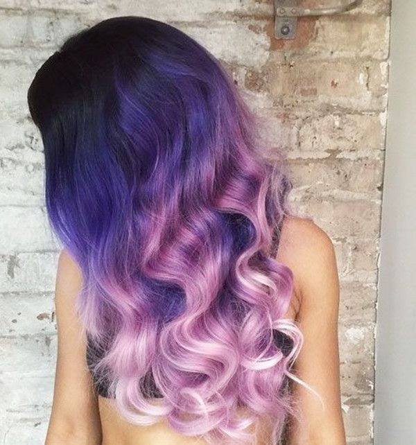 Purple and blue ombre hair - for this sort of color transition, the ombre is graduated to produce various levels of lightness and the blue and purple colors are blended over this...