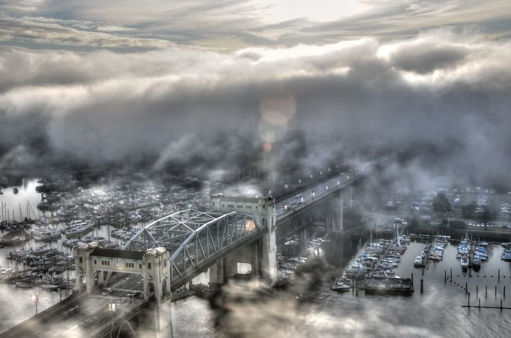 Burrard Street Bridge Vancouver Wrapped in Winter Fog