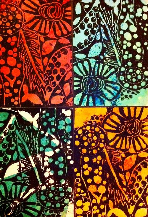 Block Printing with Polystyrene - hate the stuff but could be interesting