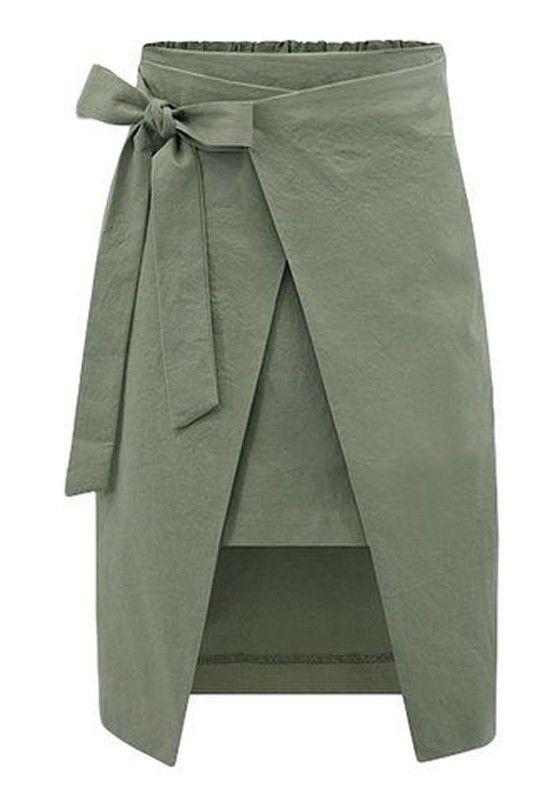 Army Green Plain Bow Elastic Waist Streetwear Cotton Skirt