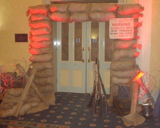 sand bag entrance---007 Theme Party