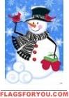 Zebra Scarf Snowman Garden Flag