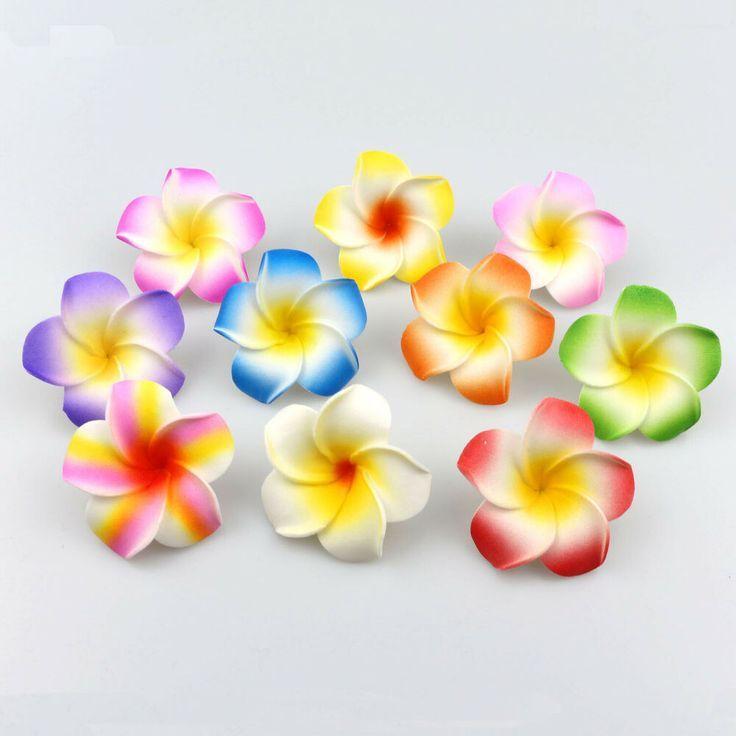 10pcs 5cm Mix Artificial Foam Hawaiian Plumeria Flower Head Diy Headwear Corsage Foam Flowers Artificial Flowers Flower Headdress