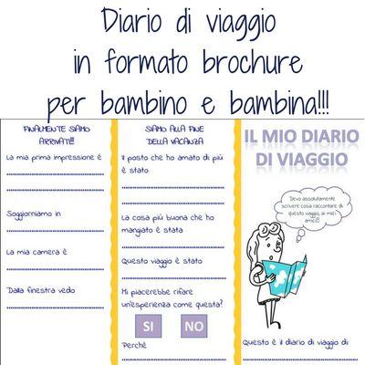 Diario di viaggio brochure da stampare per bambini viaggiatori