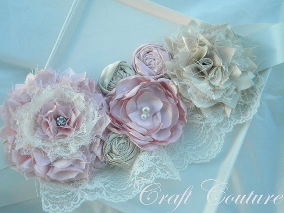 Maternity Sash Couture and Vintage Style by CraftCouture44 on Etsy, $40.00