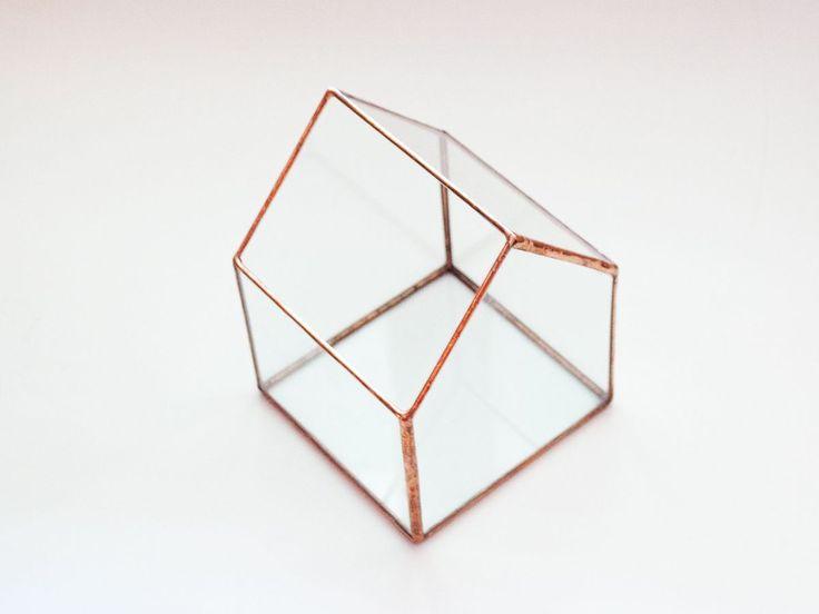Casa din sticla / Terariu geometric  / obiect decorativ handmade/ suport lumanari