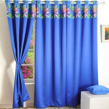 lackout Curtains Printed Blue- 1112