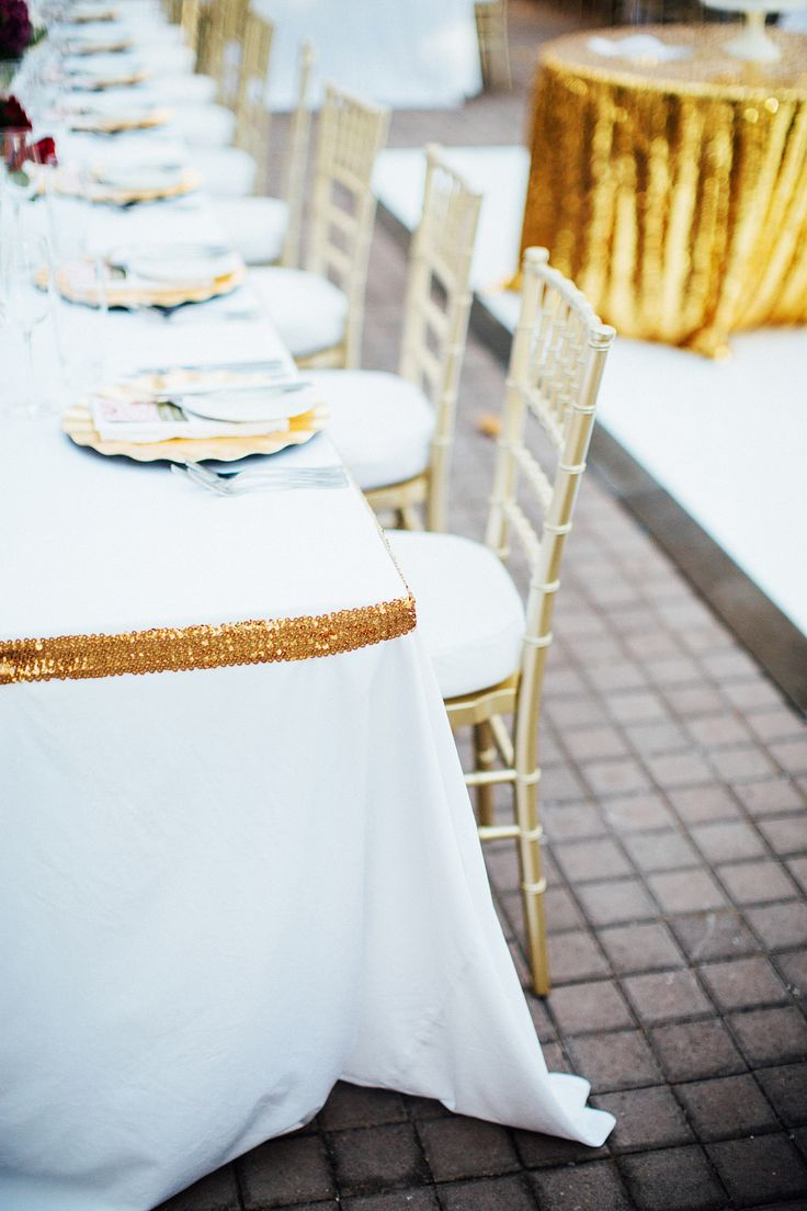 Gold Border around table. New Years Eve wedding with Fuchsia, gold and white. Styled by www.cdweddings.com.au - photo by www.natasjakremersblog.com