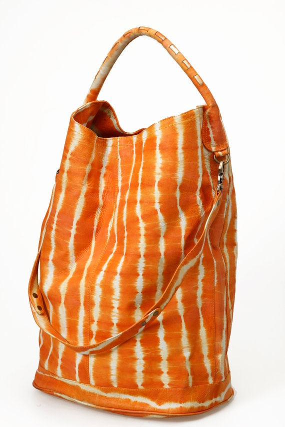 Large Leather Bag  Tangerine Orange Lamb Leather by BlessingBecca, $145.00