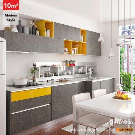 OP16-M06: 10 metros cuadrados de la línea recta del estilo moderno diseño de la cocina