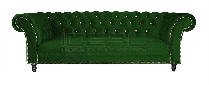 Sofy Stylowe - Sofa Chesterfield Kent - Ideal Meble Velvet chesterfield sofa, green