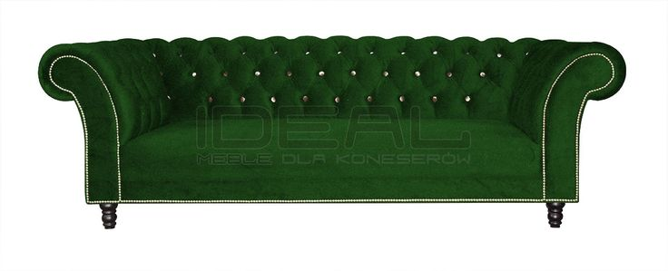 Sofy Stylowe - Sofa Chesterfield Kent - Ideal Meble Velvet chesterfield sofa, green