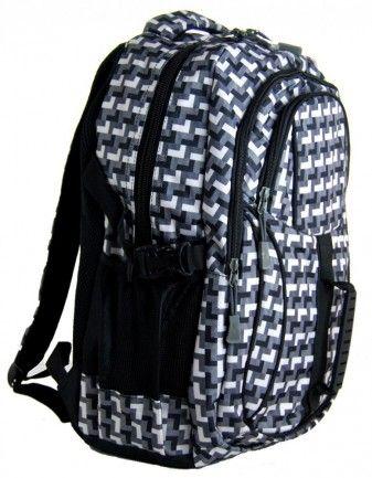 Károvaný batoh do školy L615-A šedo-černý - Kliknutím zobrazíte detail obrázku.