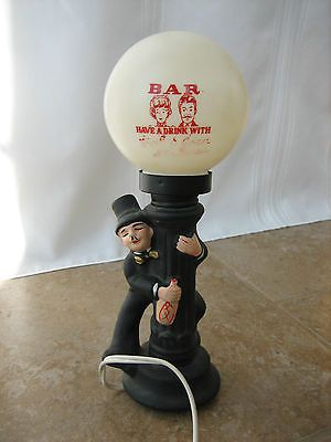 Vintage Ceramic Bar Lamp Light Hobo On Street Plastic Globe
