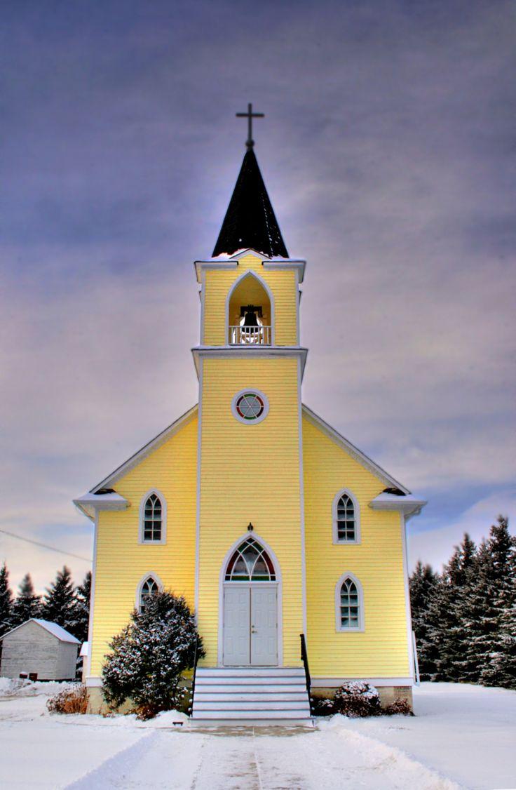 Love the yellow against the sky st john s lutheran church near rabbit hill alberta canada